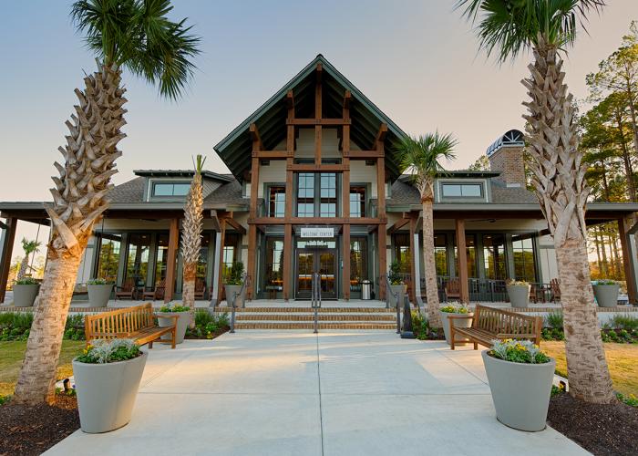 Modern clubhouse at Carolina Pines RV Resort