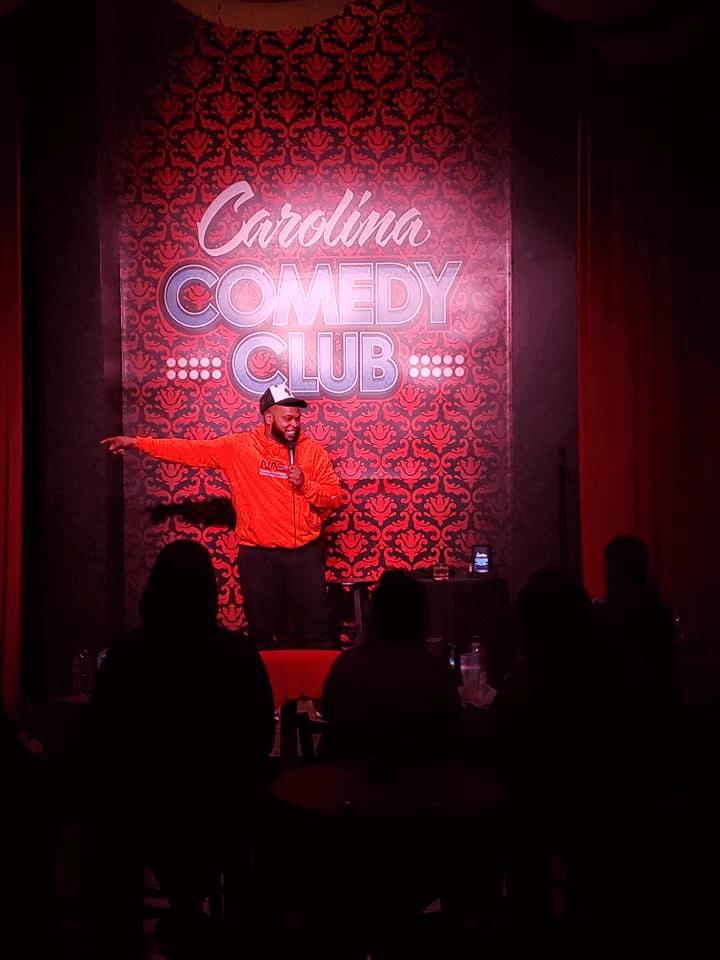 Comedian performing at Carolina Comedy Club
