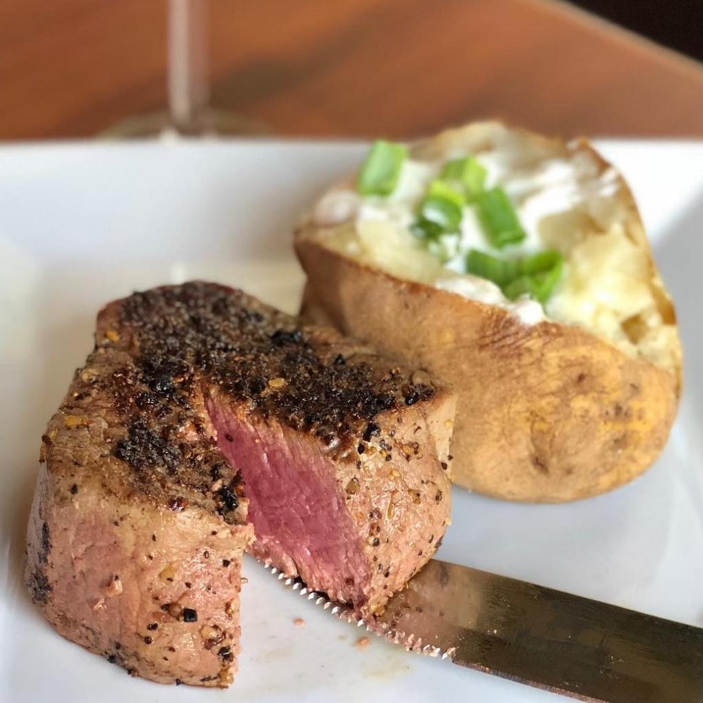 Filet mignon and baked potato