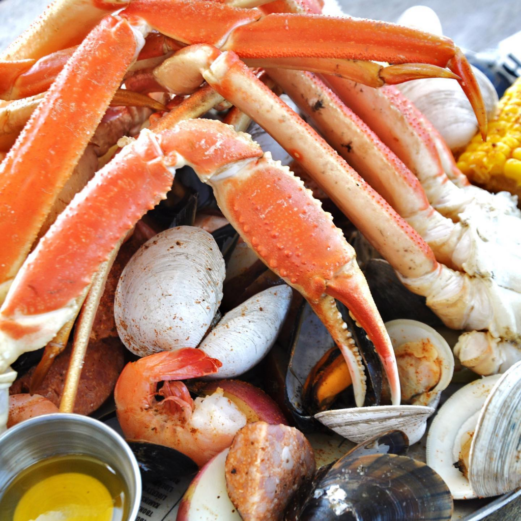 Seafood boil with crab legs
