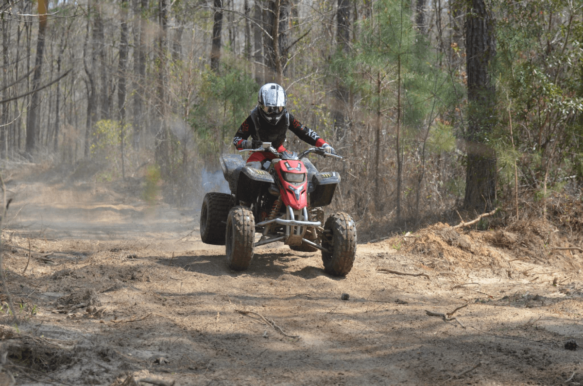 Person riding ATV on a trail at Battery Park Off-Road