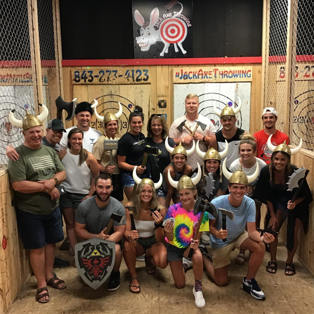 Large group at Jack Axe Throwing