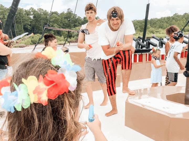 water gun fight at Blackbeard's Pirate Cruise