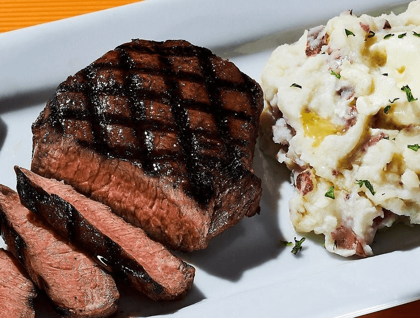 delicious steak dinner at Dave & Busters