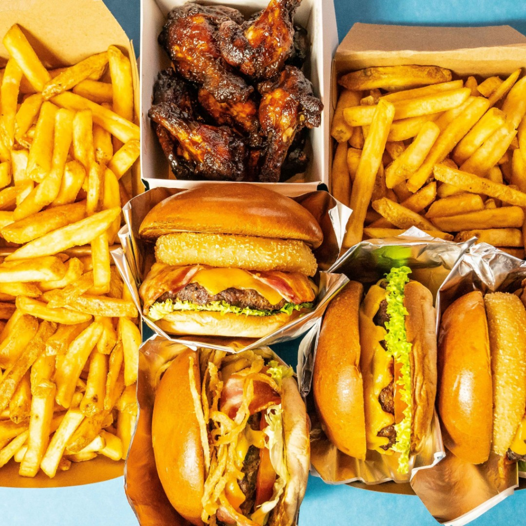 burgers, wings and fries at Hard Rock Cafe