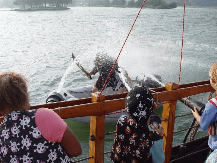 water cannon fight at Pirate Adventures