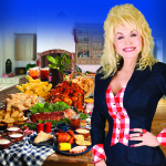 Dolly Parton standing next to a buffet from Dixie Stampede