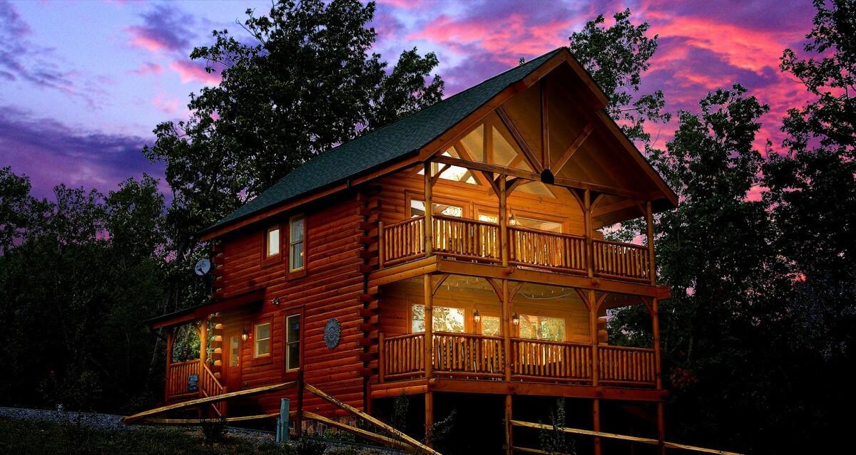 Hearthside Cabin Rentals Cabin at Dusk