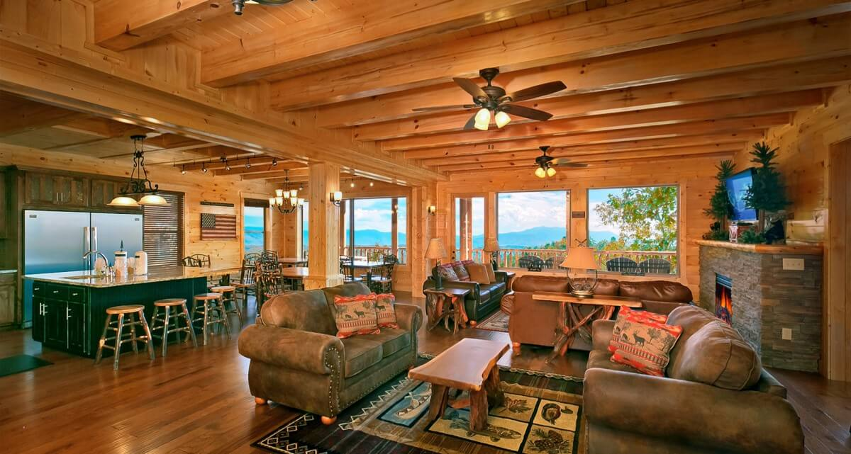 HearthSide Cabin Rentals Living Room Open Kitchen