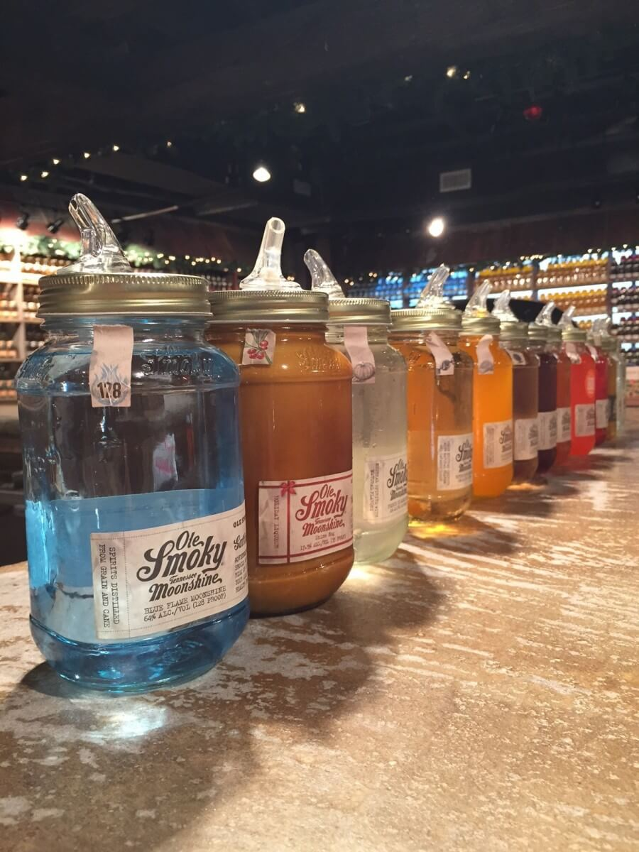 Ole Smoky Distillery Row of Moonshine Bottles