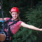 Foxfire Mountain Zip Lines Girl Hanging