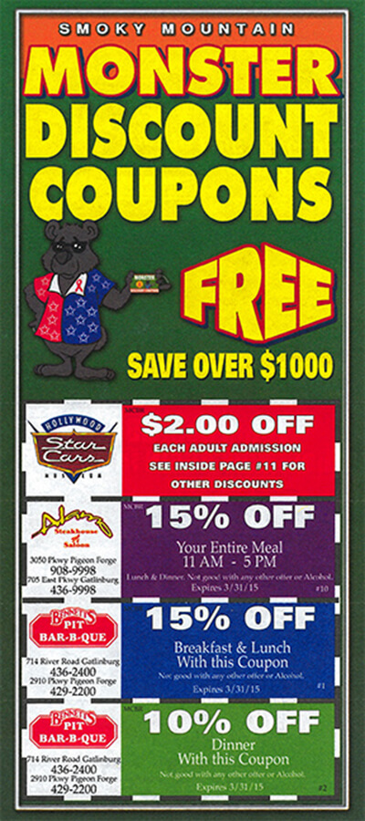 bc98a84b602b Monster Discount Coupons - FREE Coupons for the Smoky Mountains