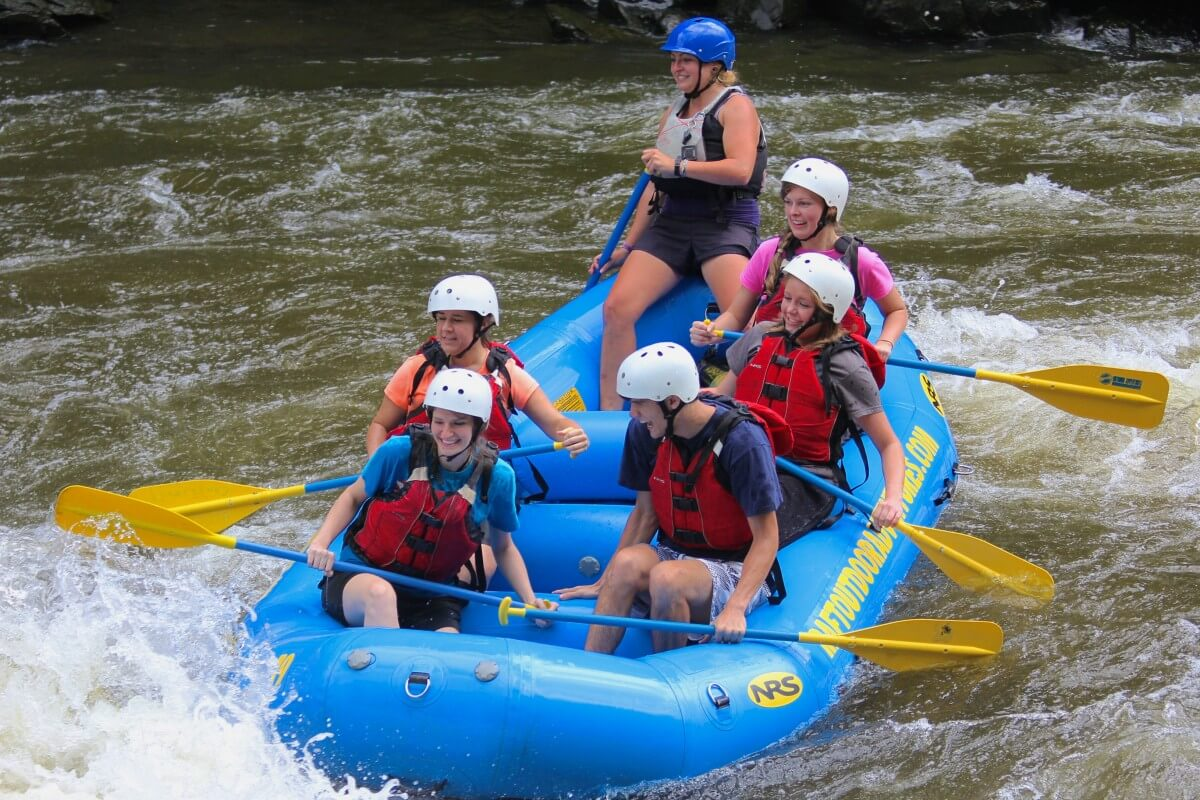 Outdoor Adventures Rafting Whitewater Smiling People Boat