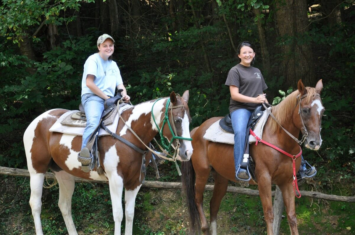 Smoky Mountain Riding Stables Ladies on Horses