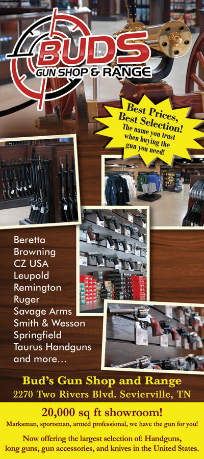 Buds Gun Shop and Range Brochure Cover - Sevierville TN