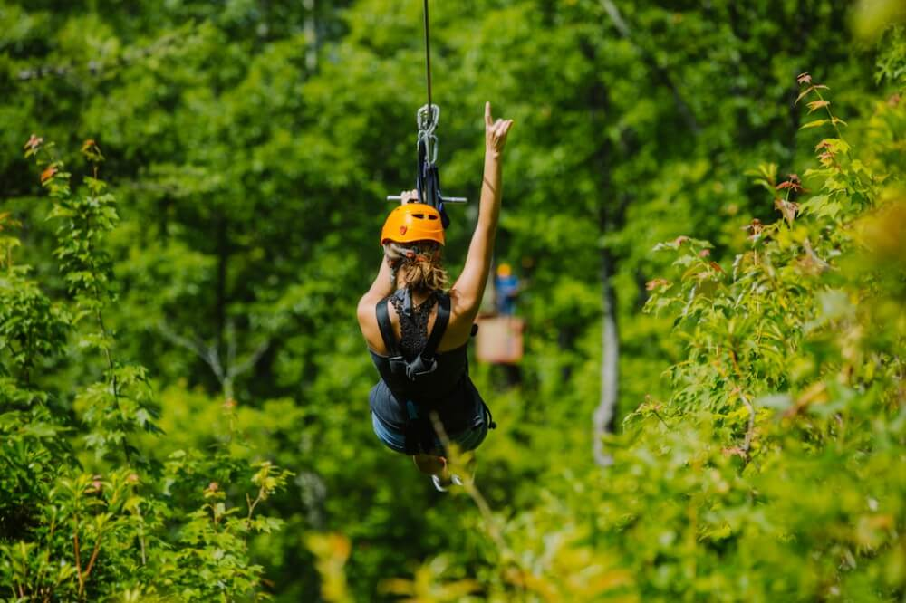 Zip Line Climbworks in Gatlinburg Raised Hand