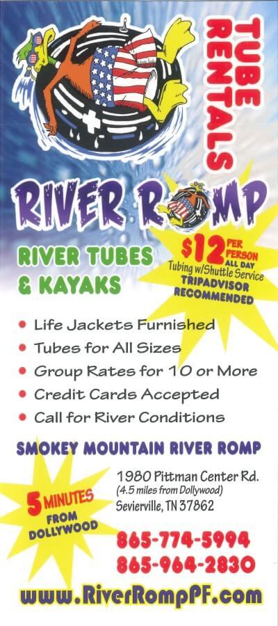 River Romp – Tube & Kayak Rentals Brochure Image