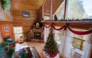 Cabins decorated for the holidays in the Smokies