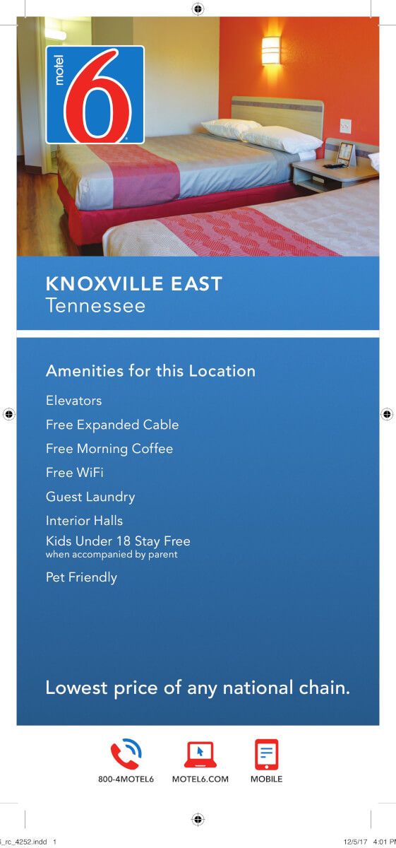Motel 6 Knoxville Brochure Image