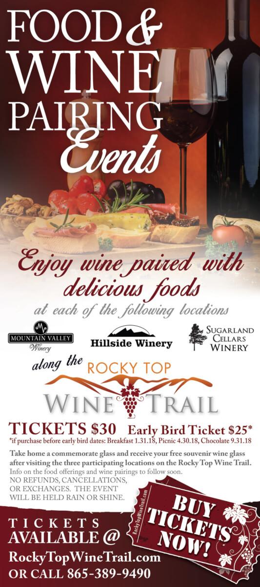 Rocky Top Wine Trail Food & Wine Pairing Brochure Image