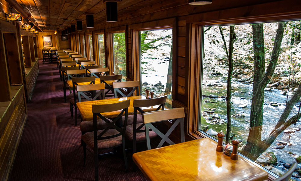 View of the Little Pigeon River at the Peddler Steakhouse