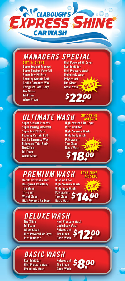 Clabough's Express Shine Car Wash Brochure Image