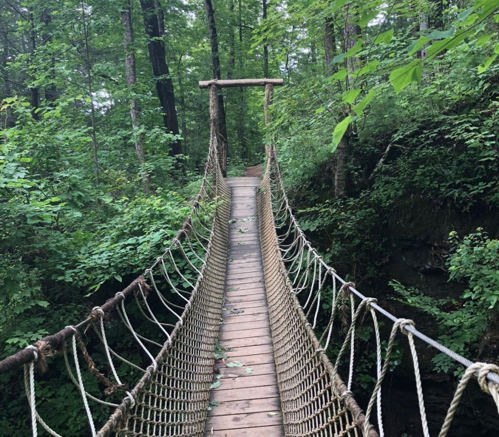 swinging bridge at foxfire adventure park - sevierville tn