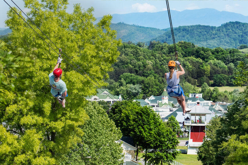 ziplining at adventure park at five oaks - sevierville tn
