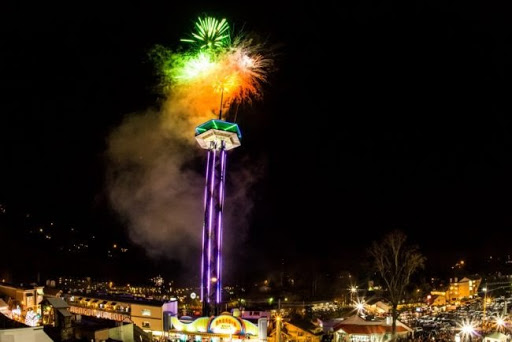 Fireworks at the Gatlinburg Space Needle - New Years in Gatlinburg