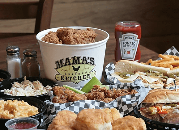 Spread of Food from Mama's Chicken Kitchen Gatlinburg