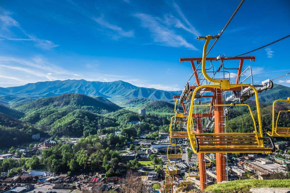 Chair lift overlooking mountains - Gatlinburg SkyLift Park