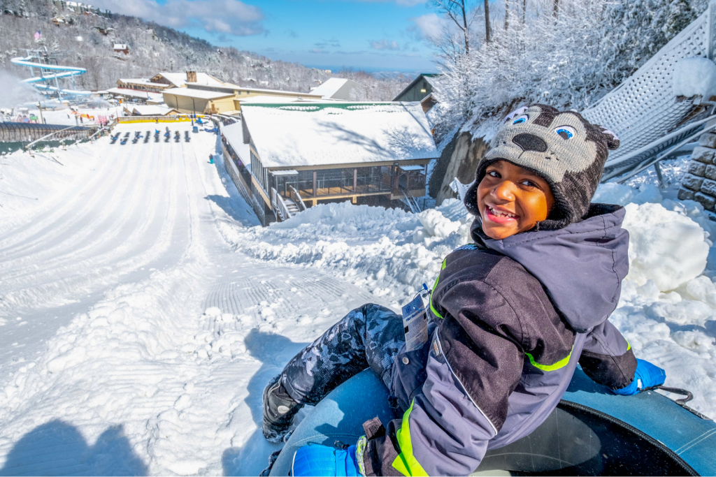 Kid tubing at Ober Gatlinburg ski resort