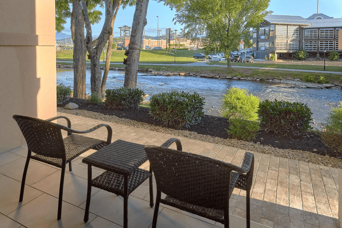 Patio overlooking Pigeon River