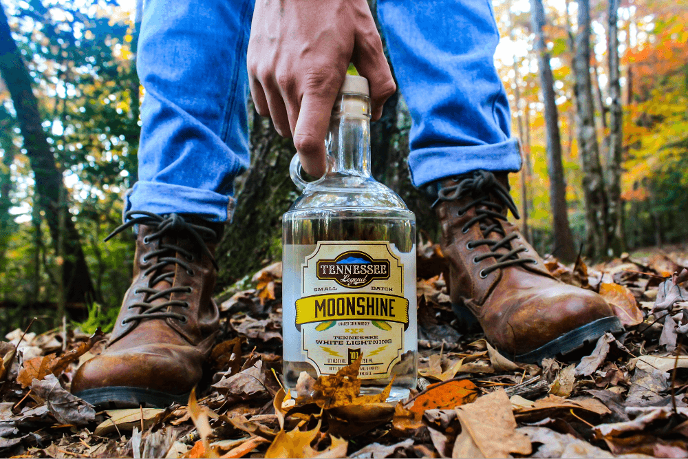 Outdoors shot of Tennessee Legend Distillery moonshine
