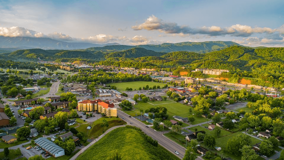 aerial view of Pigeon Forge