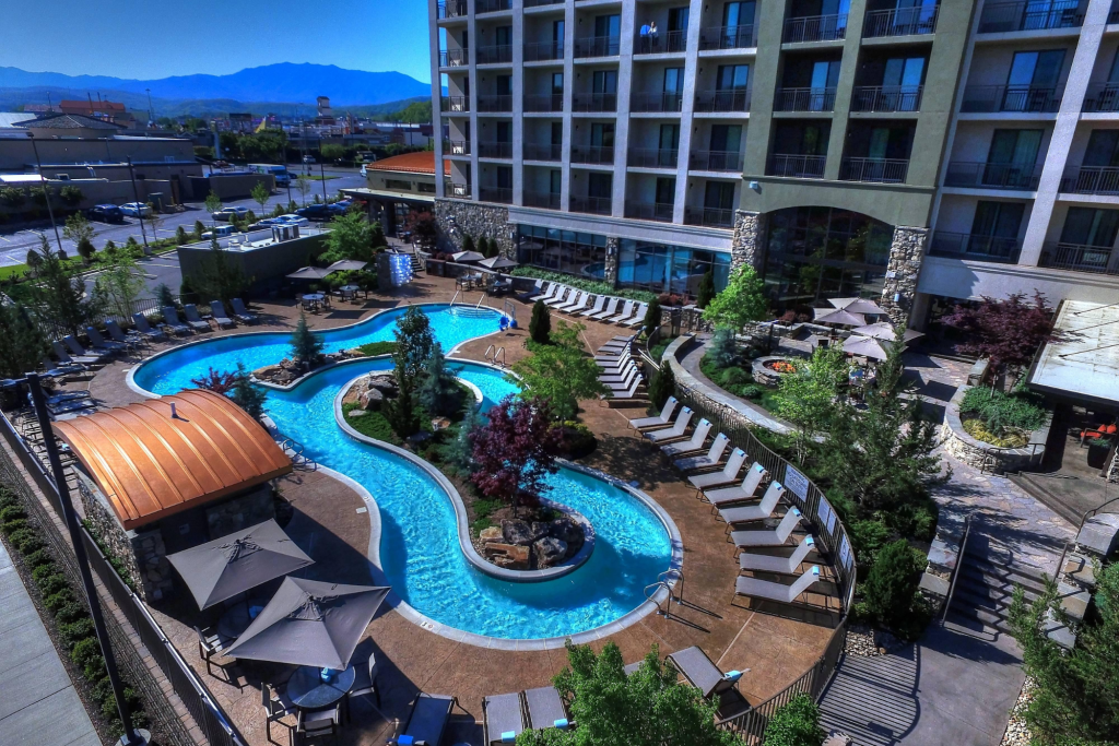 relaxing lazy river at Courtyard by Marriott