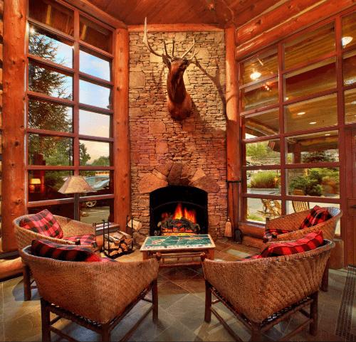 cozy fireplace at Bearskin Lodge - Gatlinburg, TN