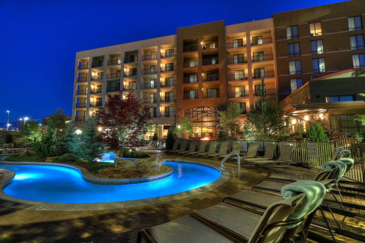 Nighttime poolside view of Courtyard by Marriott - Pigeon Forge