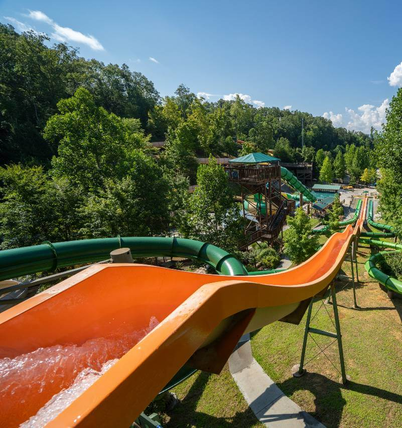 Family riding a water slide at Dollywood Splash Country