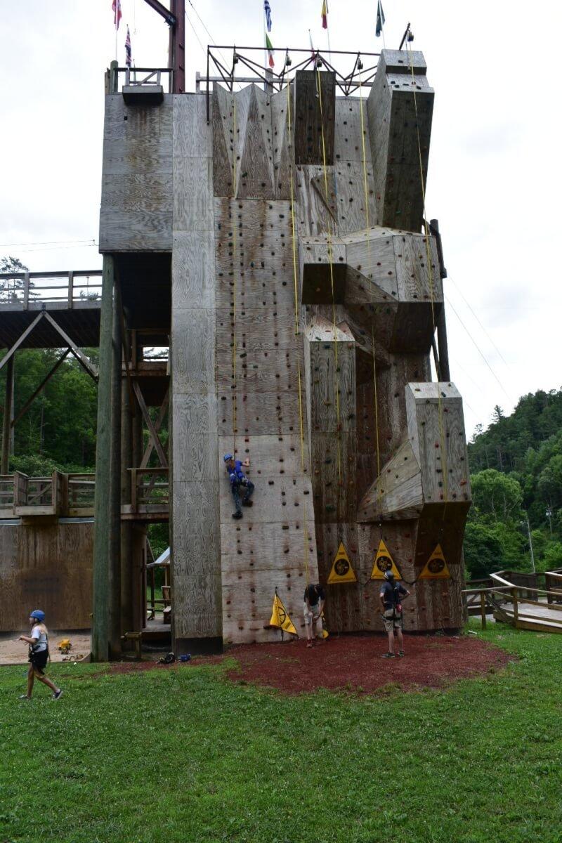 climbing wall at Foxfire Mountain Adventure Park